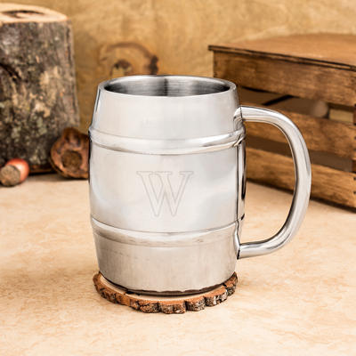 Engraved 14 oz. Double-Wall Beer Keg Mug-Personalized Beer Keg Mug