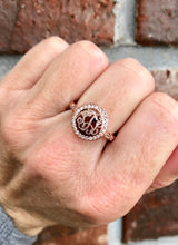 Monogram Rose Gold Ring with Decorative Cubic Zirconia Band, Engraved Ring with Cubic Zirconia Border