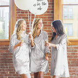 Personalized Glitter Script Satin Night Shirt-Bridesmaid Night Shirt-Girls Trip Night Gowns
