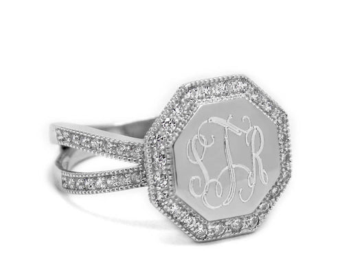 Monogram Octagon Sterling Silver Ring