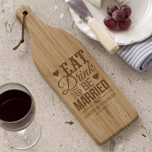 Personalized Wine shape Cutting Board