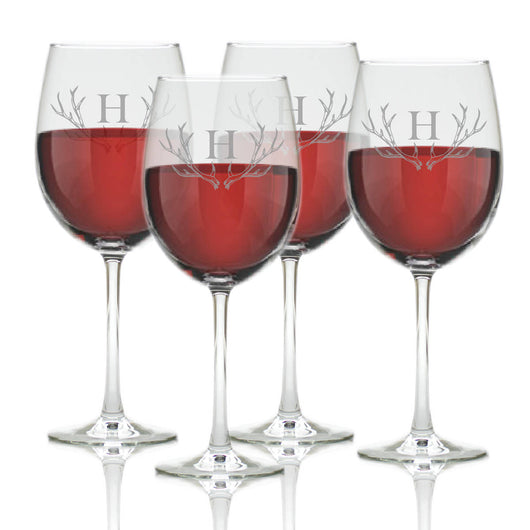 Monogram Antler Wine Glass Set