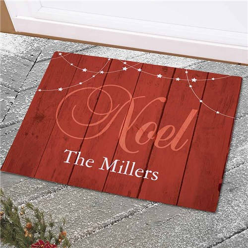 Personalized Noel Welcome Doormat-Winter Doormat-Faux Wood Doormat-Rustic Doormat-Christmas Doormat
