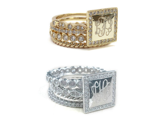 Engraved Square Stackable Ring Set