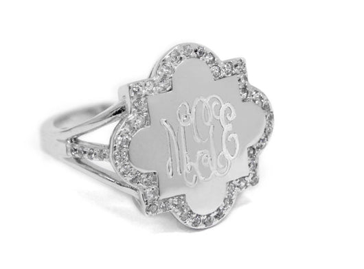 Monogram Quatrefoil Sterling Silver Split Band Ring, Engraved Quatrefoil Ring