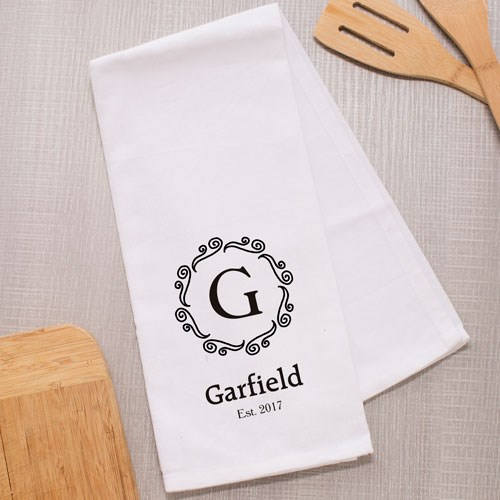 Personalized Family Name Dish Towel-Personalized Kitchen Towel with Est date