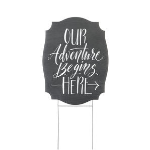 Our Adventure Begins Yard Sign-Chalkboard Wedding Sign-Wedding Decor