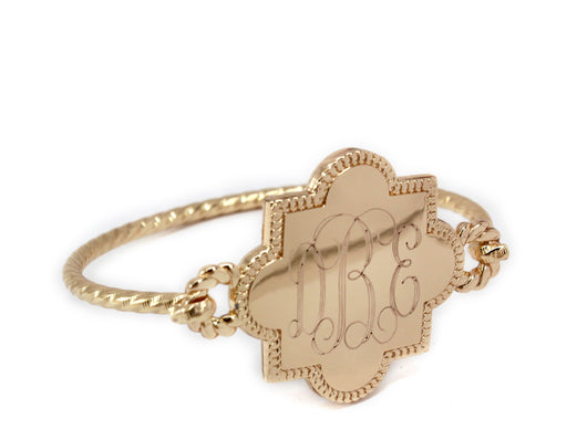 Engraved Quatrefoil Bracelet in Gold, Silver or Rose Gold