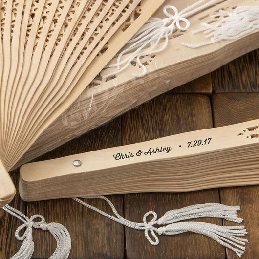 Personalized Sandalwood Wedding Fans Pack of 70