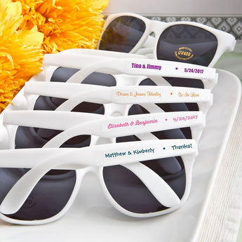Personalized White Wedding Sunglasses (Pack of 100), Beach Wedding, Summer Wedding, Destination Wedding Favor