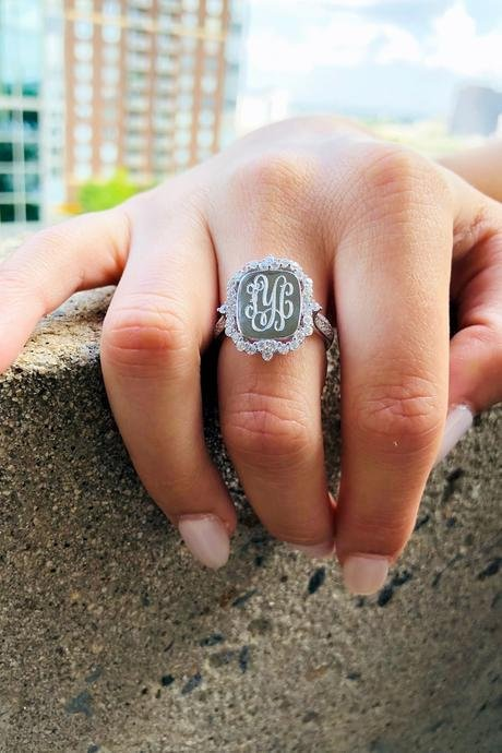 Monogram Sterling Silver Princess Ring, Engraved CZ Ring, Royal Rectangle CZ Ring