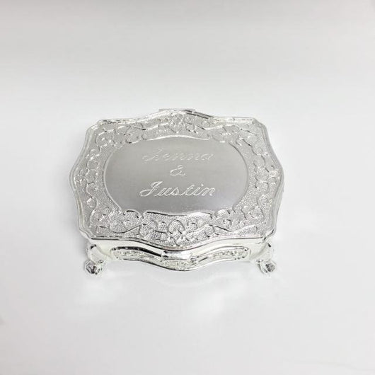 Personalized Jewelry Box, Engraved Rectangular Jewelry Box with claw feet