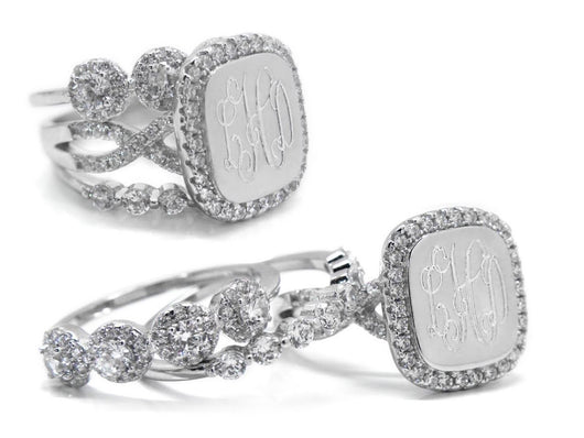 Monogram Square CZ Sterling Silver Ring