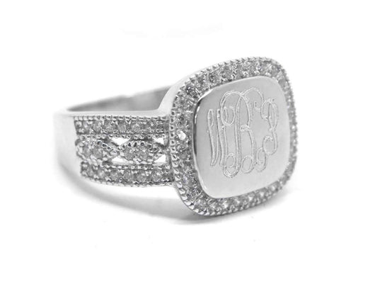 Monogram Sterling Silver Square CZ Ring, Engraved Silver CZ Ring