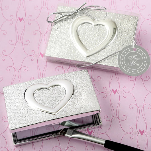 Shiny Silver Heart Compact Mirror