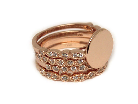 Monogram Rose Gold Plated Stackable Ring, Engraved Rose Gold Stackable Ring Set