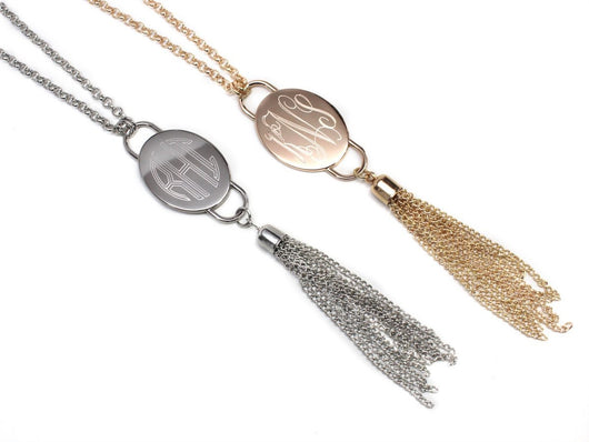 Monogram Oval Tassel Necklace-Engraved Tassel Necklace in Gold or Silver