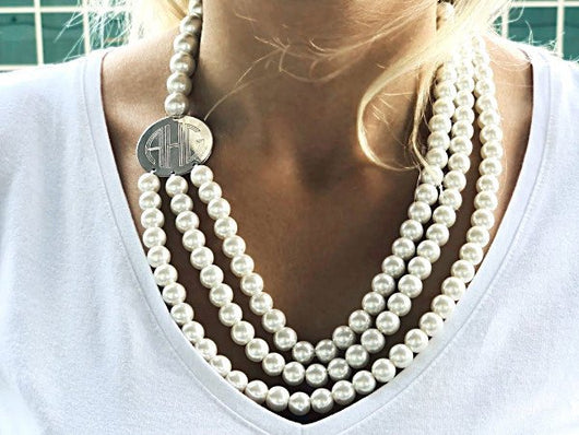 Monogram Multi Strand Pearl Necklace with Silver disk, Engraved Multi Strand Pearl Necklace, Layered Pearl Necklace with Monogram Disk