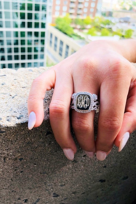 Monogram Sterling Silver Halo Stacked Ring, Engraved Halo Rectangle Ring