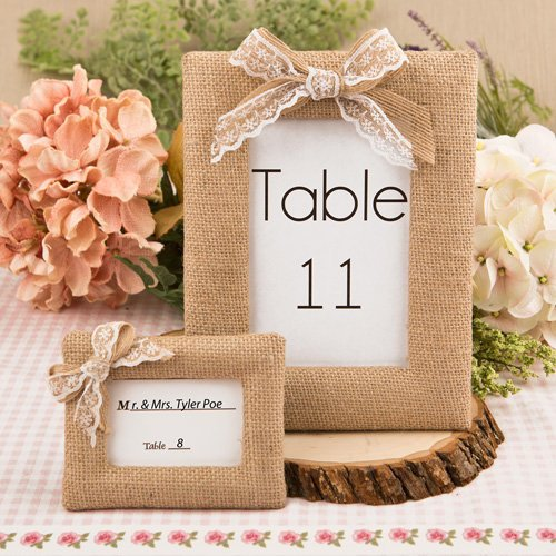 Rustic Burlap Frame with Bow, Rustic Table Number Sign, Rustic Wedding Decor Frame