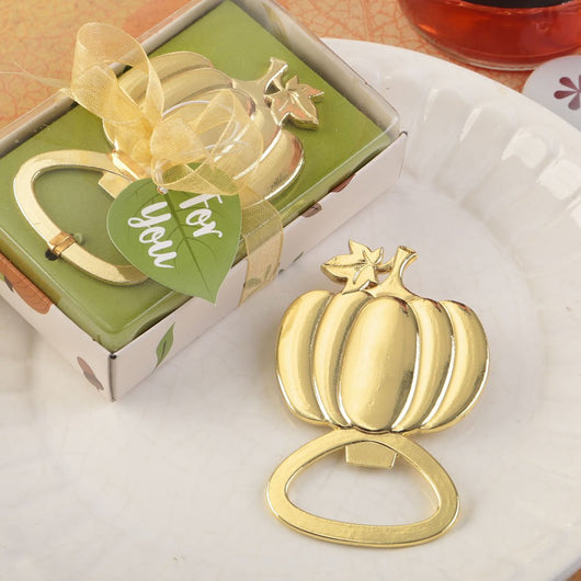 Pumpkin Bottle Opener, Gold Pumpkin Bottle Opener, Fall Wedding Favor