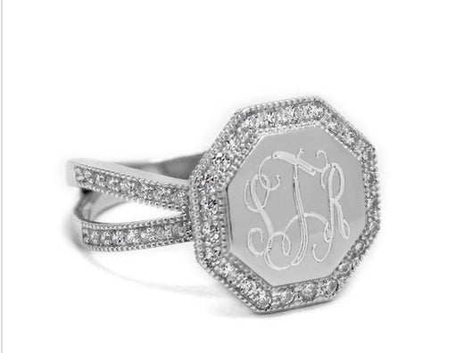 Monogram Sterling Silver Split Band CZ Ring, Engraved Silver CZ Ring