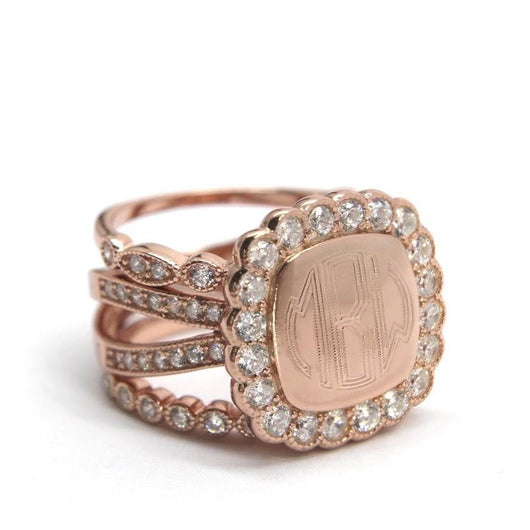 Monogram Rose Gold Plated Stackable Square CZ Split Ring, Engraved Rose Gold Ring