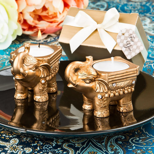 Gold Elephant Candle Holder Favor