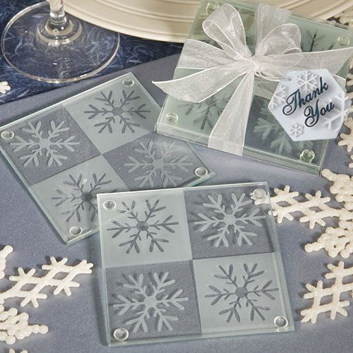 Snowflake Glass Coaster Set