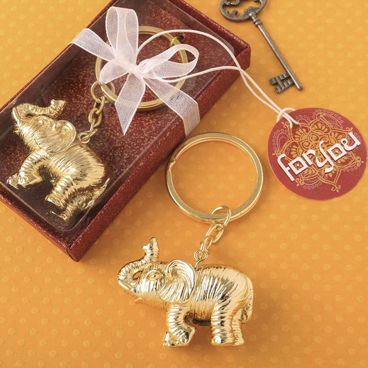 Gold Elephant Keychain Favor