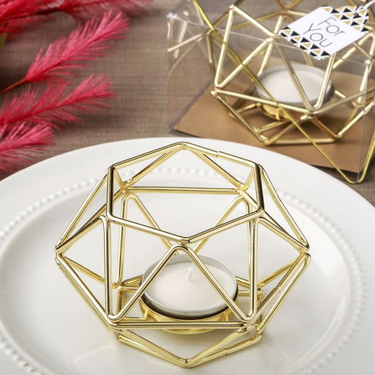 Gold Hexagon Tea Light Holder Favor, Geometric Design Candleholder