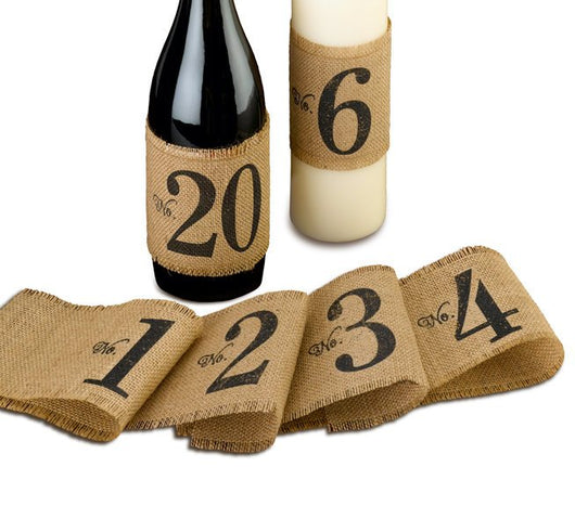 Burlap Table Number Wraps (numbers 1-20)