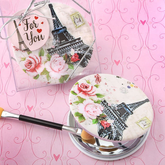 Paris Themed Leatherette Compact Mirror