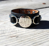 Engraved Leather Cuff Bracelet