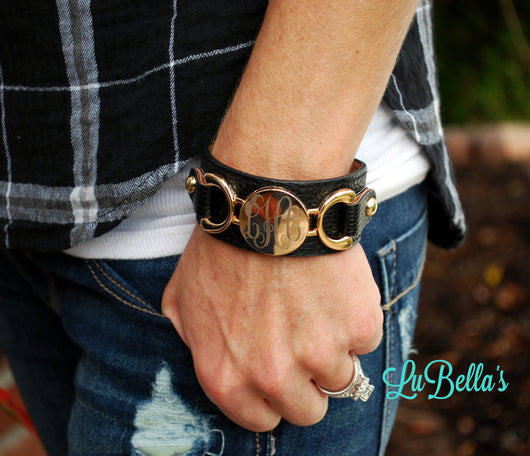 Personalized Leather Monogram Cuff Bracelet-Cuff Leather Bracelet