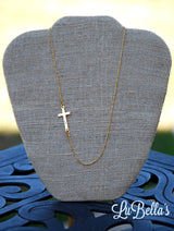 Engraved Side Cross Necklace-Monogram Side Cross Necklace-Silver or Gold