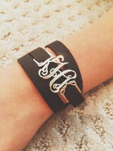 Wrap Around Monogram Leather Bracelet-Sterling Silver or Gold Plated