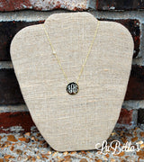 Monogrammed Side Stone Disk Necklace-Engraved Side Stone Necklace