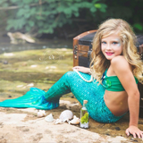 Mermaid Tail Siren Green Pattern
