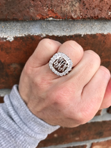 Monogram Sterling Silver Ring with Split Band CZ Border