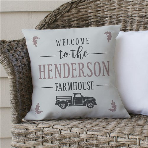 Personalized Welcome To The Farmhouse Truck Throw Pillow