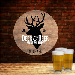 Personalized Deer And Beer Round Wall Sign