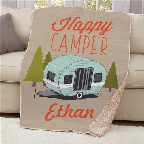 Personalized Happy Camper Sherpa Blanket