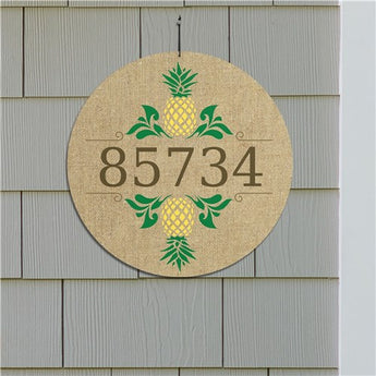 Personalized Pineapples On Burlap Design Address Wall Sign