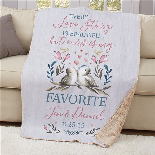 Personalized Every Love Story Is Beautiful Sherpa Blanket