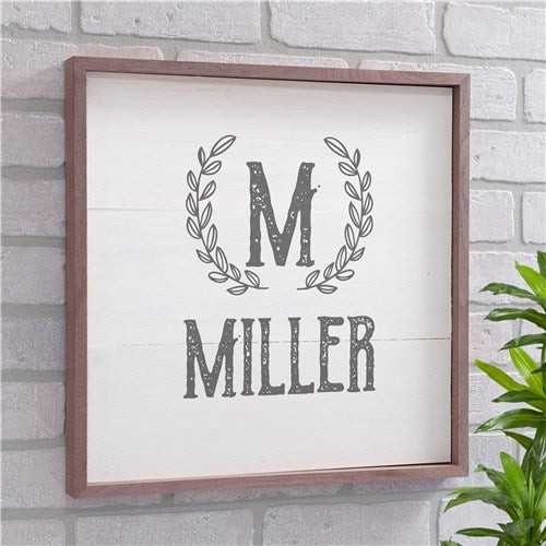 Personalized Laurel Wreath Wood Pallet Sign
