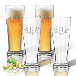 Monogram Antler Pilsner Glass Set