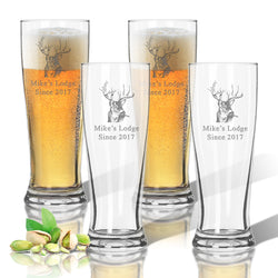 Monogram Buck Lodge Pilsner Glass Set
