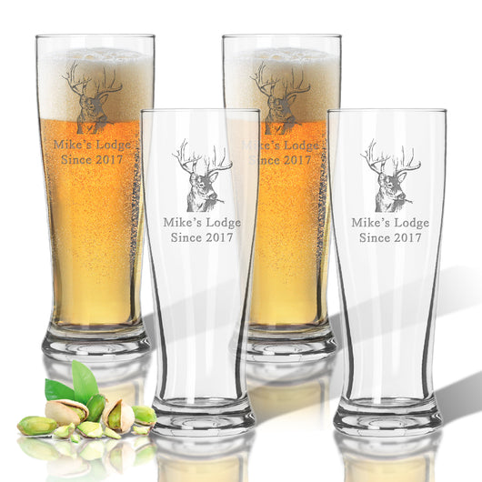 Buck Lodge Personalized Pilsner Glass Set