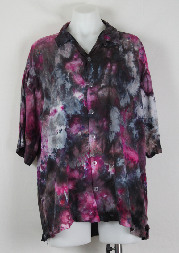 Men's Large button shirt rayon ice dye - Elderberry